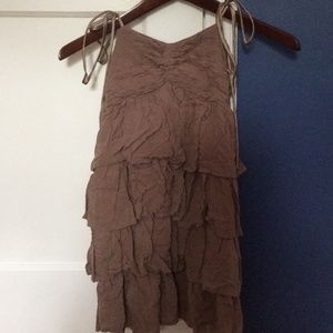H&M light brown tiered baby doll dress